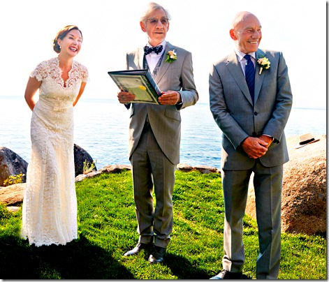 Sunny Ozell and Patrick Stewart getting married by Ian McKellen at the Thunderbird Lodge on Septmeber 7, 2013, Incline Village, NV.